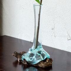 ウッドベースのガラスで出来た一輪挿し(13080) 一輪差し 花瓶 花器 フラワーベース オブジェ びいどろ 流木 ドリフトウッド 木 天然 バリ