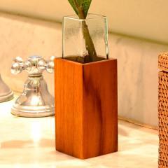 ガラス×ウッドのスクエアタイプの一輪挿し(13090) ガラス 木 木製 一輪差し 花瓶 花器 フラワーベース アジアン リゾート テイスト 雑貨