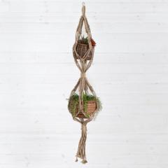 マクラメハンギング バスケット付き プランターハンガー 観葉植物 プラントハンガー 鉢 吊るす プラントホルダー 飾る マクラメグリーン