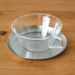 ティーカップ&ソーサー 耐熱ガラス ステンレス製受け皿 220ml 電子レンジOK(ガラスのみ) [92096] ガラス食器 コーヒーカップ ティーカ