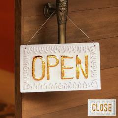 ドアプレート オープン クローズ 両面 アルミ製 ロゴ OPEN CLOSE 看板 店舗 レストラン ショップ 営業中 おしゃれ