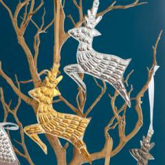 オーナメント クリスマス トナカイ ツリー 飾り グッズ ディスプレイ パーティ Christmas 演出 吊り下げ ゴールド