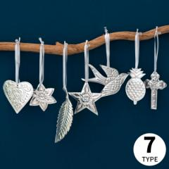 オーナメント 壁飾り アルミ製 飾り グッズ ディスプレイ 吊り下げ シルバー 星 ハート 花 パイナップル 羽根 ツバメ クロス