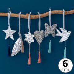 オーナメント 壁飾り アルミ製 飾り タッセル付き ディスプレイ 吊り下げ シルバー 星 ハート 花 パイナップル 羽根 ツバメ クロス
