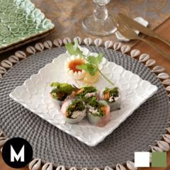 皿 プレート 正方形 プルメリアモチーフ Mサイズ 角皿 平皿 食器 スクエア 陶器皿 和食器 おしゃれ キッチン雑貨 アジアン