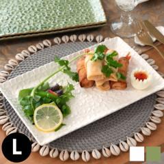 皿 プレート 長方形 プルメリアモチーフ Lサイズ 食器 スクエア 平皿 角皿  陶器皿 和食器 おしゃれ キッチン雑貨 アジアン