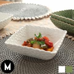 皿 椀 プレート 正方形 プルメリアモチーフ Mサイズ 深角皿 食器 スクエア ボウル 陶器皿 和食器 おしゃれ キッチン雑貨 アジアン