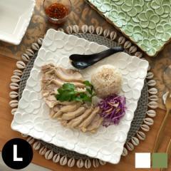 皿 プレート 正方形 プルメリアモチーフ Lサイズ 角皿 平皿 食器 スクエア 陶器皿 和食器 おしゃれ キッチン雑貨 アジアン