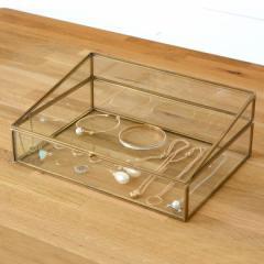 アクセサリーケース ジュエリーケース ガラスと真鍮 ジュエリースタンド ジュエリーボックス 収納 ディスプレイ