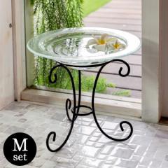 水盤 オブジェ 置物 ガラス アジアン雑貨 アイアンスタンド Mサイズ 水盆 リゾート ハワイアン インテリア