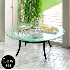 水盤 オブジェ 置物 ガラス アジアン雑貨 アイアンスタンド Lサイズ ロータイプ 水盆 リゾート ハワイアン インテリア
