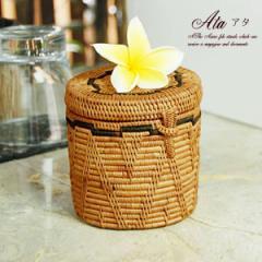 可愛い編み目で出来たアタ製の筒型小物入れケース