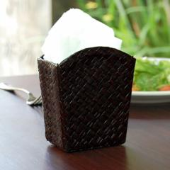 アジアン雑貨 パンダン製フレア型スタンドケース ブラウン