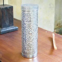 アジアン雑貨 アルミの筒型ケース ロング30cm