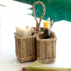 柳で編まれた持ち手付きカトラリーケース