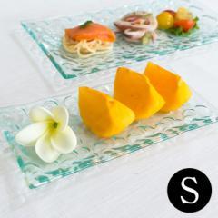 プルメリアをモチーフにした涼しげなガラスプレート(S) 約19.5×9.7cm (62230) プレート 角皿 お皿 大皿 アジアン雑貨 ハワイアン雑貨 お