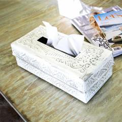 ティッシュケース アルミのティッシュケースボックス ホワイト