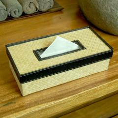 ティッシュケースカバー パンダン製ポイントレザー ナチュラル [10661] ティッシュケース ボックス ホルダー おしゃれ バリ アジアン雑貨