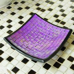 モザイクガラスタイル デコレーショントレイ 20cm バイオレット [10902] アジアン アクセサリートレイ おしゃれ トレー アジアン雑貨