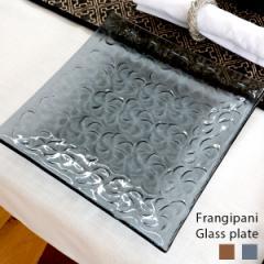 プルメリア柄ガラスプレート Lサイズ 21×21cm