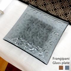 プルメリア柄ガラスプレート Mサイズ 17×17cm