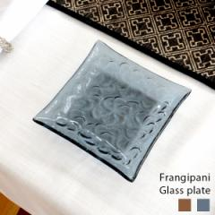 プルメリア柄ガラスプレート Sサイズ 13×13cm