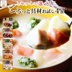 レトルト食品 シチュー スープ カレー お試し セット が 選べる 4食 詰め合わせ 惣菜 おかず サンフーズ メール便 ポイント消化 送料無