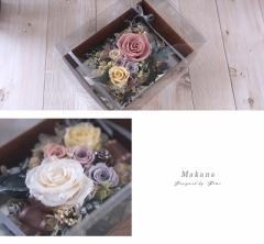 【受注制作】プリザーブドフラワー【makana】マカナ 木箱の中のお花畑をイメージ 大切なご友人へのギフトに、法人様事務所開きなどのお