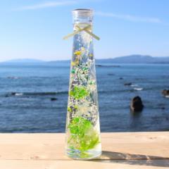 ハーバリウム【ライトグリーン系】プリザーブドフラワーアレンジ 【テーパー瓶】200ml