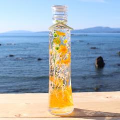 ハーバリウム【オレンジ系】プリザーブドフラワーアレンジ 【ウッディスリム瓶】200ml