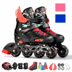 ローラースケート ローラーブレード インラインスケート 初心者向け 子供/ジュニア用  ウィールが光る  サイズ調整可能  送料無料 LJ110