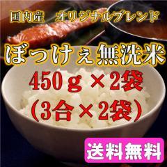 ポイント消化 500 送料無料 食品 米 お試し ぼっけぇ無洗米 (ブレンド)450g(3合)×2袋 1kg未満 代金引換不可
