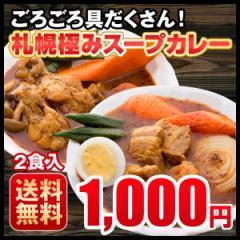 送料無料 ぽっきり 3種から選べる 札幌極みスープカレー 2食 豚角煮・チキン・ホタテ 北海道 カレー レトルト メール便
