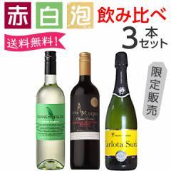 ワイン ワインセット うきうき厳選 赤・白・泡が味わえる飲み比べ3本セット 送料無料