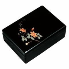 紀州塗り 尺1寸 合口文庫 黒(内梨子地塗) 鉄仙盛絵