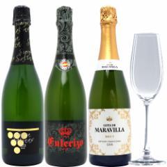 送料無料 お試しセット 全て本格シャンパン製法 辛口泡3本セット+クリスタルグラス1客 750mlx3本ワイン+グラス1客^W0CV05SE^
