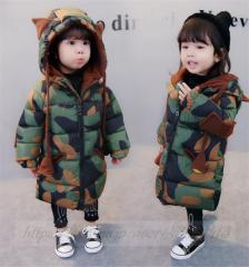 6dd8394f68a7c 子供服 女の子 ダウンコート 迷彩柄 幼児 女児 フード付き 厚手 キッズ ジャケット キッズコート