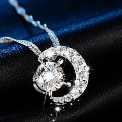 レディース ネックレス ペンダント 三日月 AAA 一粒 CZダイヤモンド シルバー 星と月 チェーン スワロフスキー 風 リング