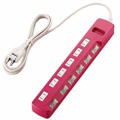 エレコム 個別スイッチ付 雷ガードタップ「Color Style」(2P式6個口)2.0m T‐PN04‐2620PN(ピンク)