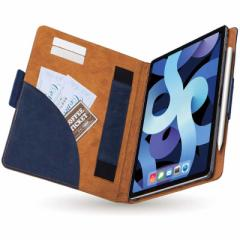 エレコム ELECOM 10.9インチ iPad Air(第4世代)用 ソフトレザーケース フラップカバー フリーアングル ツートン ネイビー×ブラウン T