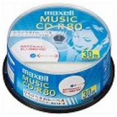 マクセル 音楽用CD-R 80分/30枚「インクジェットプリンタ対応」「ホワイト」 CDRA80WP.30SP