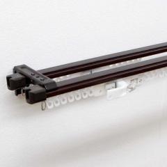フルネス 伸縮カーテンレール クロスライド 2m用(110-200cm) ダブル ダークウッド I-1218-2MW(ダー