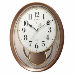 リズム時計 掛時計 【スモールワールドエアルS】 茶メタリック [電波自動受信機能有] 4MN556RH06