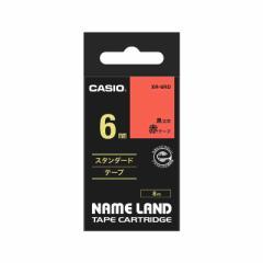 カシオ CASIO ネームランド テープカートリッジ スタンダードテープ(6mm) XR6(RD) (赤×黒文字)