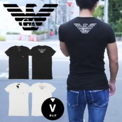 エンポリオ アルマーニ EMPORIO ARMANI Vネック 半袖 Tシャツ メンズ EAGLE STRETCH COTTON かっこいい おしゃれ 綿 ブランド 男性 プレ