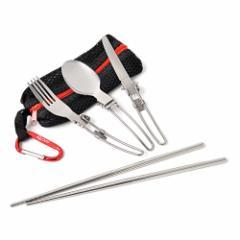 アウトドア 折畳式 シングルカトラリー 通気性バツグンのメッシュケース フォーク スプーン ナイフ つなぎ箸 カラビナ 6点セット