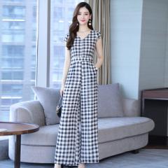 オールインワン パンツスーツ パンツスタイル ワイドレッグパンツ 格子柄 韓国ファッション オルチャン ファッション 韓国 オルチャン ス