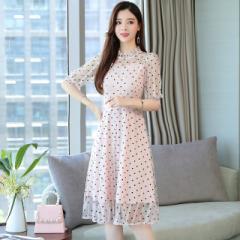 夏ワンピース 水玉柄ワンピース シースルー ワンピース シフォン ワンピース 韓国 ファッション レディース ワンピース 夏 白ワンピース