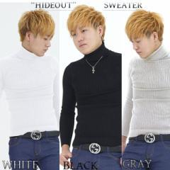 ニット メンズ セーター ハイネック タートルネック ニットセーター トップス インナー タートルニット 長袖 無地 白 黒 灰色 冬 春