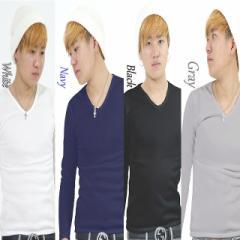 メンズ vネックtシャツ vネック Tシャツ 長袖Tシャツ インナー トップス  裏起毛 暖かい 透けない 無地 長袖 春 冬 白 黒 青